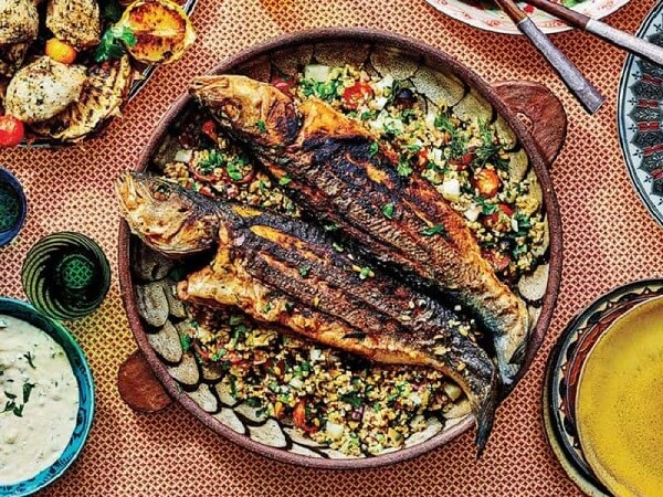 سبزی های ماهی پلو